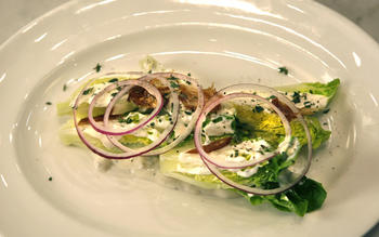 Little Gem lettuce with dates, red onion and Gorgonzola dolce
