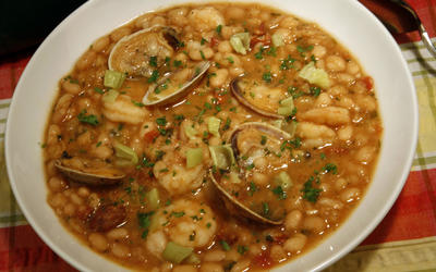 White beans with chorizo, clams and shrimp