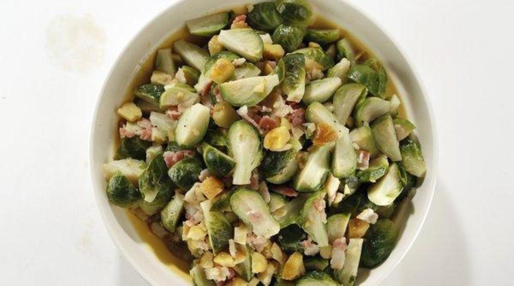 Recipe: Brussels sprouts braised with bacon and chestnuts ...