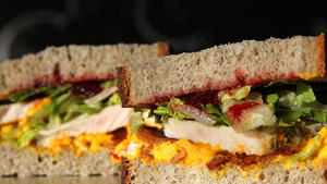Carved turkey with kabocha spread and ancho-bell-pepper-cranberry chutney