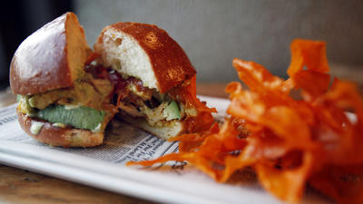 Roasted turkey with fried sweet potatoes and jalapeno-cilantro aioli