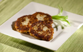 Potato latkes with feta cheese and two onions