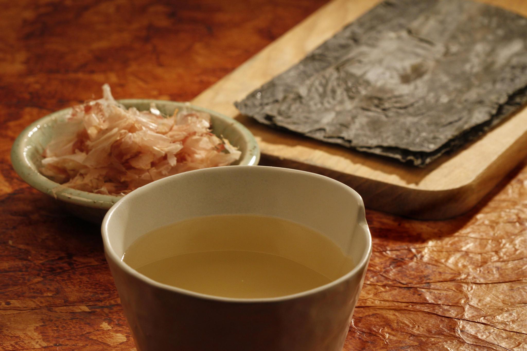 Recipe bonito flakes and konbu seaweed dashi california for Bonito fish flakes