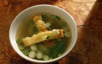 Miso soup with crispy age tofu, nappa cabbage and green onions