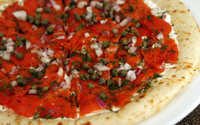 Morton's smoked salmon pizza
