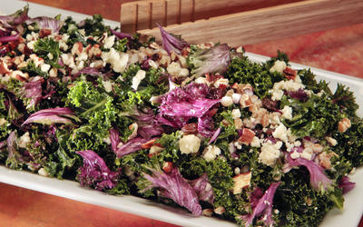 Kale salad with farro, dried fruit and blue cheese