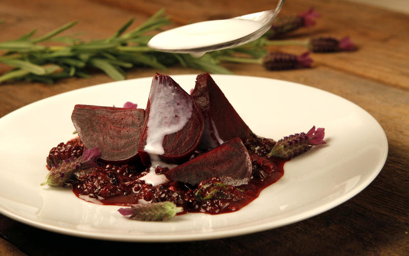 Beets with lavender and crushed blackberries