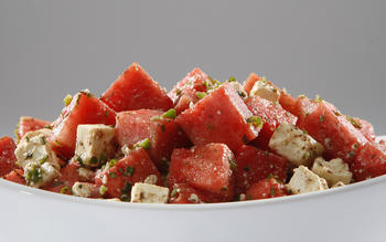Watermelon salad with feta, mint and cumin-lime dressing