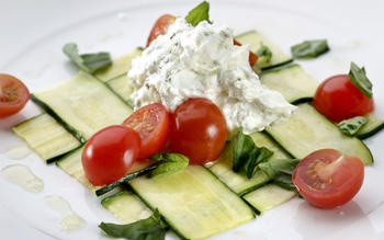 Woven zucchini with fresh goat cheese