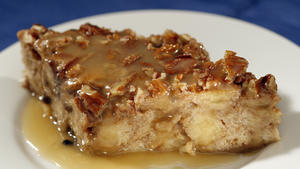 Zea's sweet potato bread pudding with rum sauce