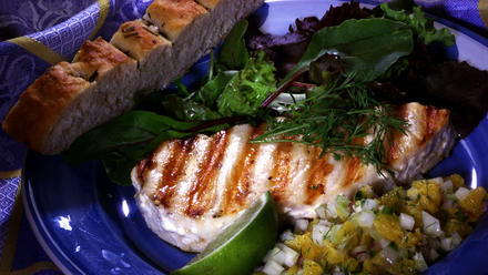 Grilled Halibut With Fennel-Orange Salsa