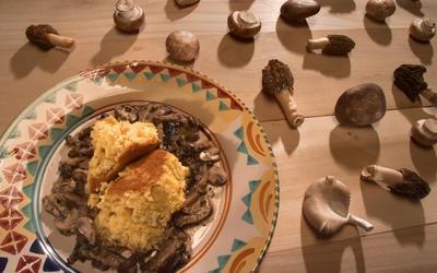 Polenta souffle with mushroom ragout