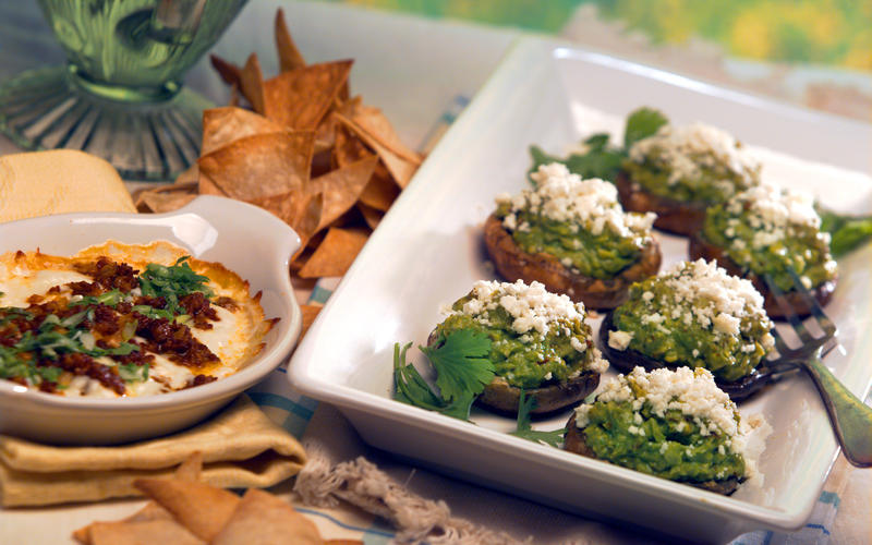 Grilled portabello mushrooms with chipotle guacamole