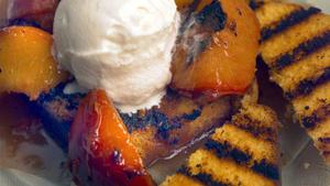 Grilled fruit with toasted poundcake