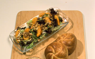 Winter Green Salad With Walnuts and Persimmons