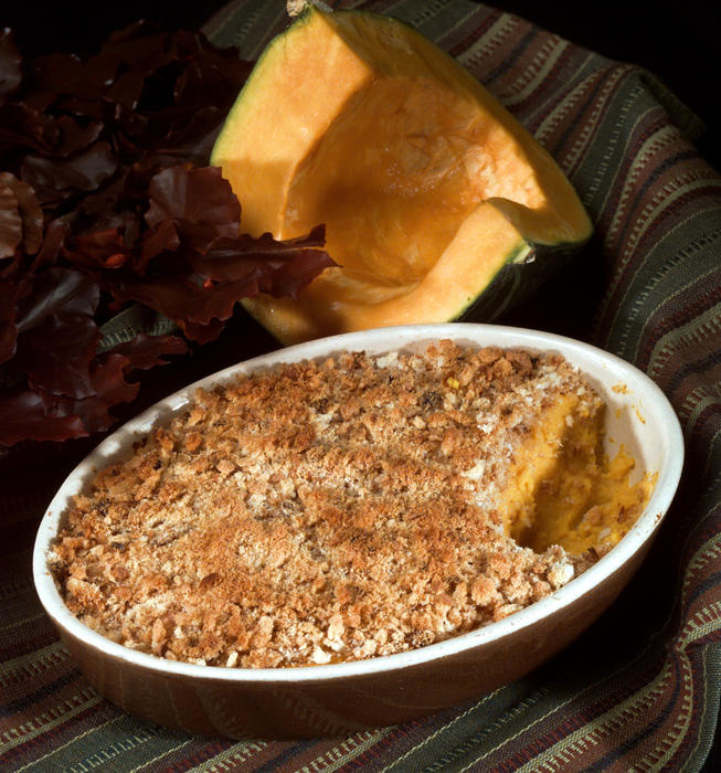 Double-baked squash with crunchy onion topping