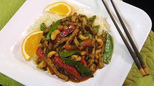 Tangerine-marinated pork with stir-fried vegetables