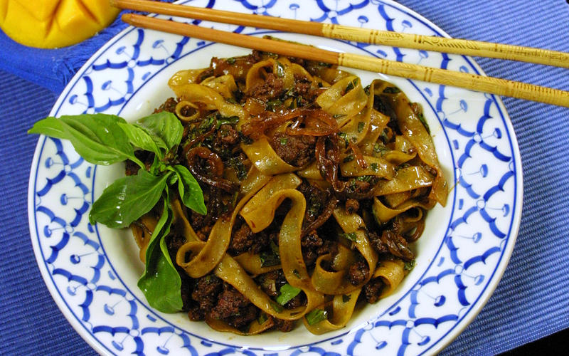 Thai Pork and Basil With Rice Noodles