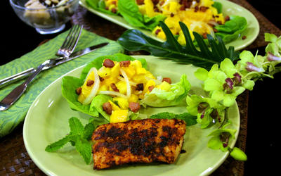 Pineapple Salad With Grilled Mahi-Mahi