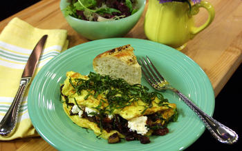 Portabello Mushroom and Goat Cheese Omelet