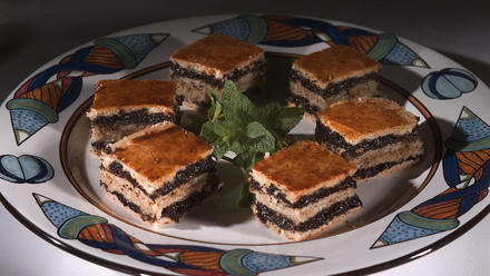 Layered poppy seed pastries