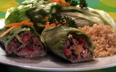 Minced Beef in Lettuce Leaves