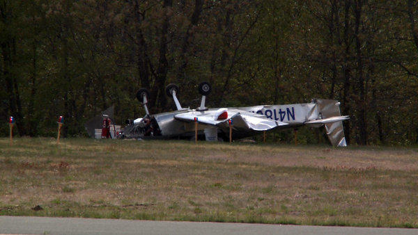 A small aircraft flipped over after landing at Meriden-Markham Airport on May 7, the airport administrator said.