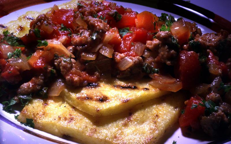 Sauteed Polenta Squares With Italian Sausage Sauce