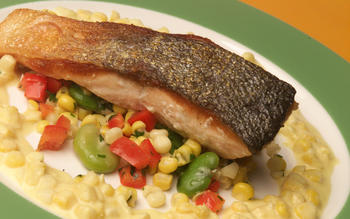 Crisp-skinned salmon with summer succotash and creamed corn