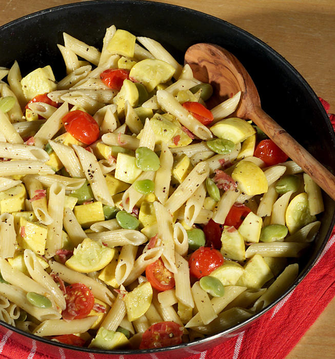 Summer Squash Stew With Pasta and Lima Beans
