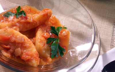 Potatoes Simmered in Fresh Tomato Sauce