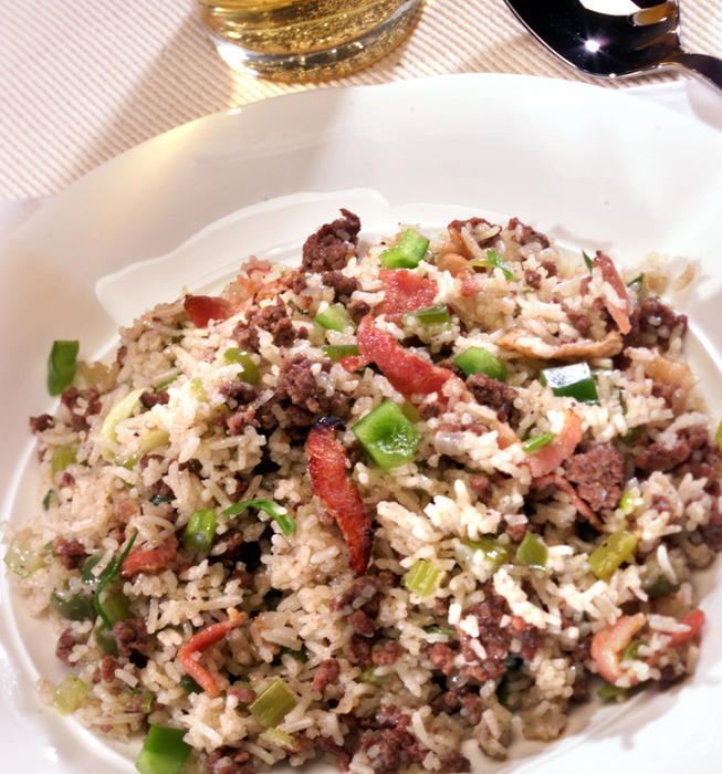 Dirty rice with bacon