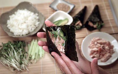 Salmon hand rolls with avocado