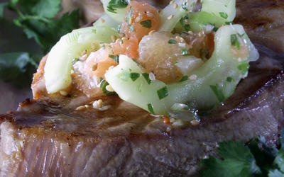 Seared Tuna Steaks With Cucumber and Grapefruit Salsa