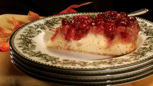 Upside-down cranberry cake
