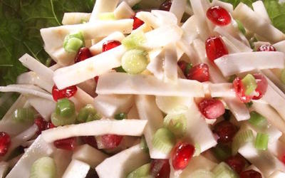 Celery Root 'Slaw' With Pomegranate Seeds and Green Onions
