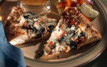 Pizza With Smoked Chicken Sausage, Swiss Chard and Pine Nuts