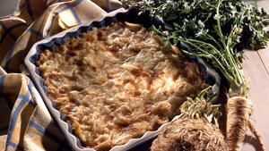 Creamy winter root vegetable gratin