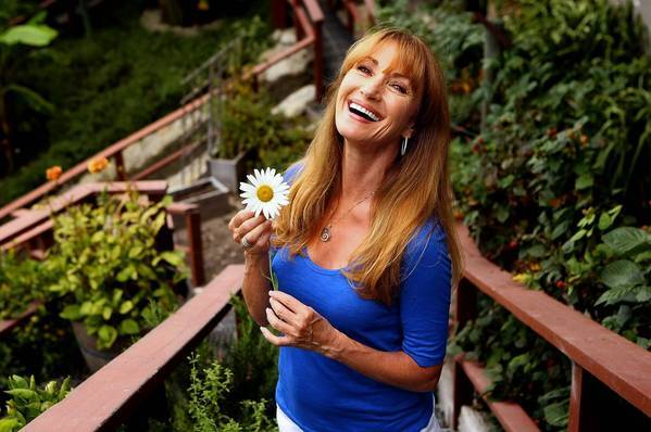 Jane Seymour in her garden at her home in Malibu. She says she often just goes out to the garden to grab a bite.