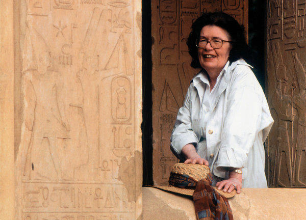 Barbara Mertz, pictured in Egypt, turned to writing after she was unable to find work related to her training as an Egyptologist.