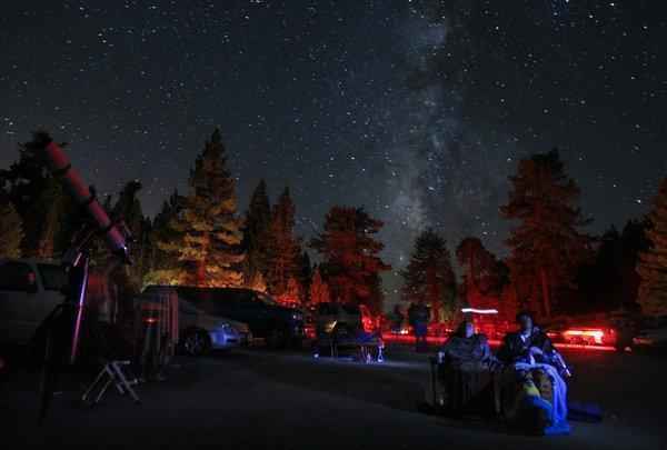 Sky watchers gather for the Perseid meteor shower in August 2010.