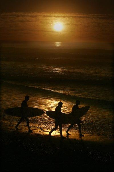 Surfers leave the water at Cardiff State Beach.