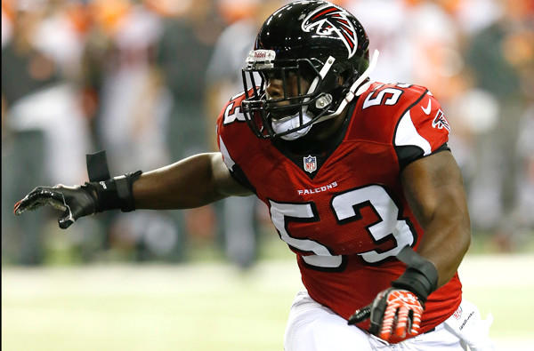 Falcons linebacker Brian Banks pursues an opponent during a preseason game against the Cincinnati Bengals on Thursday night in Atlanta.