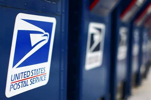 A view shows U.S. postal service mail boxes at a post office in Encinitas, California.