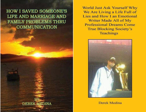 Two self-published books by Derek Medina, who has been arrested in the slaying of his wife.