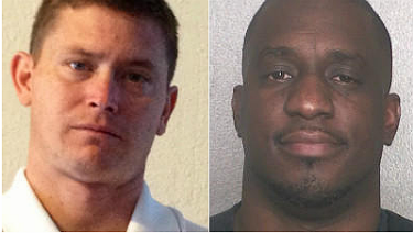 Photos: Lauderhill police officers Thomas Merenda, at left, and Franklin Hartley / Merenda, handout photo /Hartley, Broward sheriff's jail photo