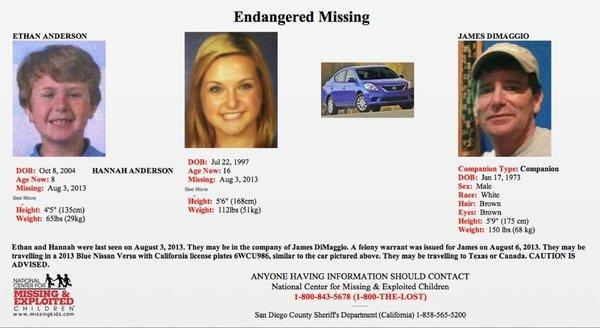 This flier from the San Diego County Sheriff's Department shows James Lee DiMaggio, suspected of killing Christina Anderson, 44, and kidnapping her daughter, Hannah Anderson, 16. Christina Anderson's son, Ethan, may have been killed with her.
