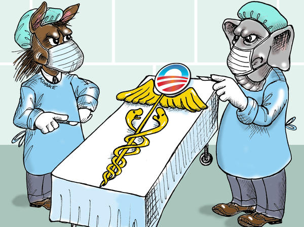This artwork by Jennifer Kohnke relates to Obamacare.