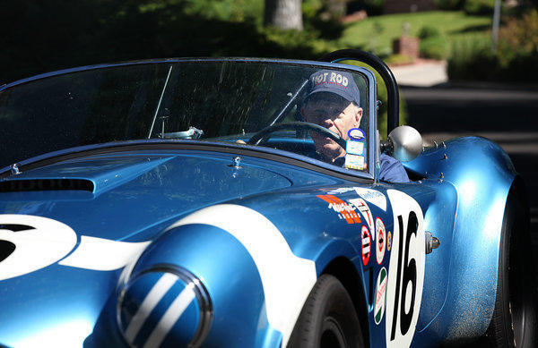 Lynn Park drives one of his vintage Shelby Cobras around his neighborhood in La Cañada Flintridge.