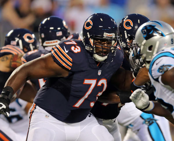 Bears tackle J'Marcus Webb blocks in the first quarter Friday against the Panthers.